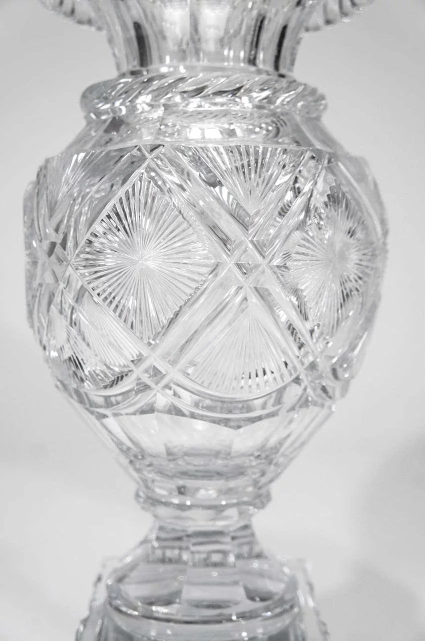Pair Of 19th C Baccarat Cut Crystal Mantle Vases On