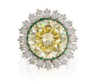 Rare Pieces: Fancy Intense 22.77 Carat Yellow Diamond Platinum Ring