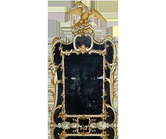 Rare Chippendale period border glass mirror