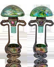 Pair of important snake lamps ca. 1900 Helosinware Vienna Kralik Style of Loetz