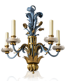 Polychrome & Gilt Iron Chandelier by Maison Bagues
