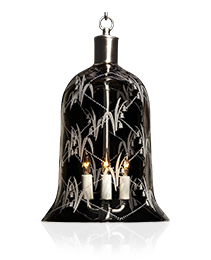 """LILY OF THE VALLEY"" crystal bell shaped three light lantern"