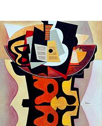Guitar, Sheet music, a Glass & a Fruit bowl | 2014 | Oil painting | Erik Renssen (NL. 1960)