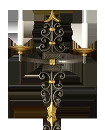Dark and gilt bronze two light arrow sconce