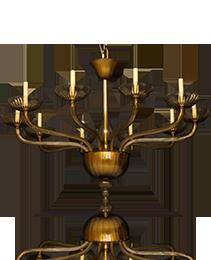 Venetian Amber Glass Ten Light Chandelier in the style of Barvovier & Toso