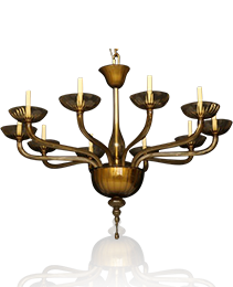 Venetian Amber Glass Ten Light Chandelier in the style of Barvovier & Toso
