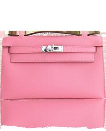 Hermes Rose Confetti Epsom Kelly Pochette Bag Love