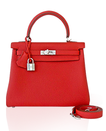 Hermes Vermillion 25cm Lipstick Red Togo Mini Kelly Bag Palladium Rare Jewel