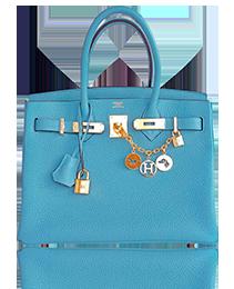Hermes Blue Saint Cyr 30cm Birkin Gold GHW Satchel Bag Robin Egg Blue