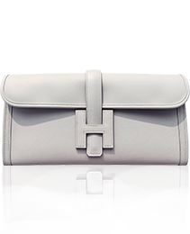 Hermes Gris Perle Pearl Grey Jige Elan Clutch Bag 29cm Superb