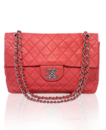 Chanel Dark Pink Relaxed Caviar Leather Jumbo Classic Flap Shoulder Bag