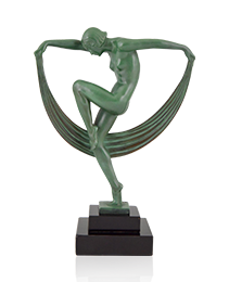 French Art Deco Sculpture Of A Scarf dancer by Denis, 1930