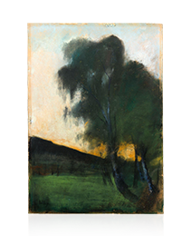 """Pastel """"Landscape with Birch Trees"""" by Lesser Ury"""