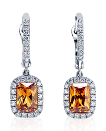 Mandarin Garnet Earrings with Diamond