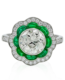 Platinum Diamond Emerald Ring