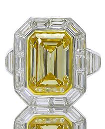 Yellow Diamond & Platinum Ring