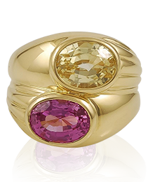 Pink & Yellow Sapphire Ring by Bulgari