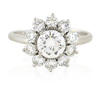 Shop for Signed Jewels - CARTIER Platinum & Diamond Cluster Ring 2.03ctw
