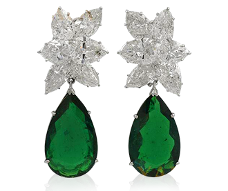 Shop for Signed Jewels - HARRY WINSTON Diamond and P/S Emerald Earrings