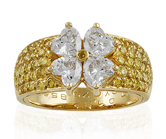 Shop Signed Jewels - VAN CLEEF & ARPELS Heart-Shaped Diamond and Yellow Diamond Ring