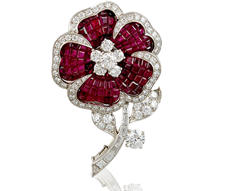 Shop Signed Jewels - VAN CLEEF & ARPELS Diamond & Ruby Mystery Set Brooch