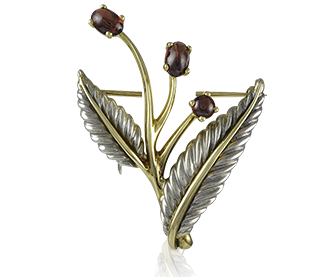 Shop Signed Jewels - Tiffany & Co. Floral Brooch with Garnets