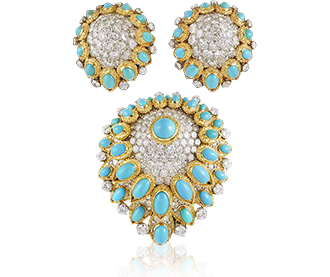 Shop Signed Jewels - VAN CLEEF & ARPELS Diamond and Turquoise Demi-Perure Brooch & Earrings