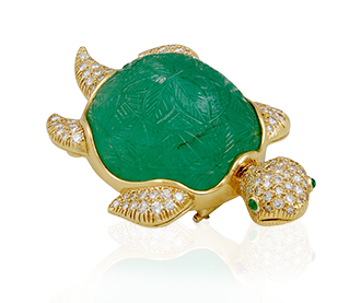 Shop Signed Jewels - VAN CLEEF & ARPELS Diamond & Carved Emerald Turtle Brooch