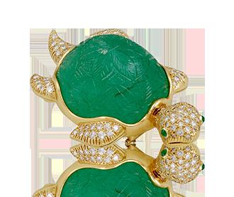 Shop Signed Jewels - VAN CLEEF & ARPELS Diamond & Carved Emerald Turtle Brooch