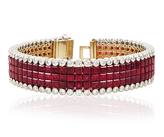 Shop Signed Jewels - Van Cleef & Arpels Diamond Mystery-Set Ruby Bracelet