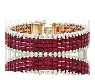 Shop Signed Jewels - Van Cleef & Arpels Diamond Mystery-Set Ruby Bracelet