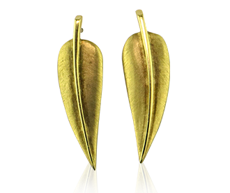 Shop Signed Jewels - Tiffany 18 Karat Gold Leaf Earrings by Angela Cummings