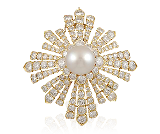 Shop Signed Jewels - VAN CLEEF Diamond & Pearl Brooch part of Estee Lauder Collection