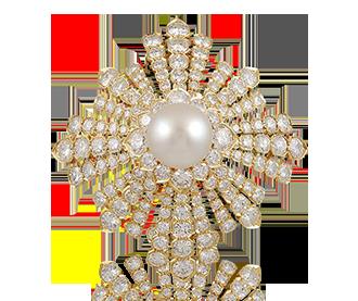 Shop Signed Jewels - VAN CLEEF Diamond & Pearl Brooch part of Estee Lauder Collection