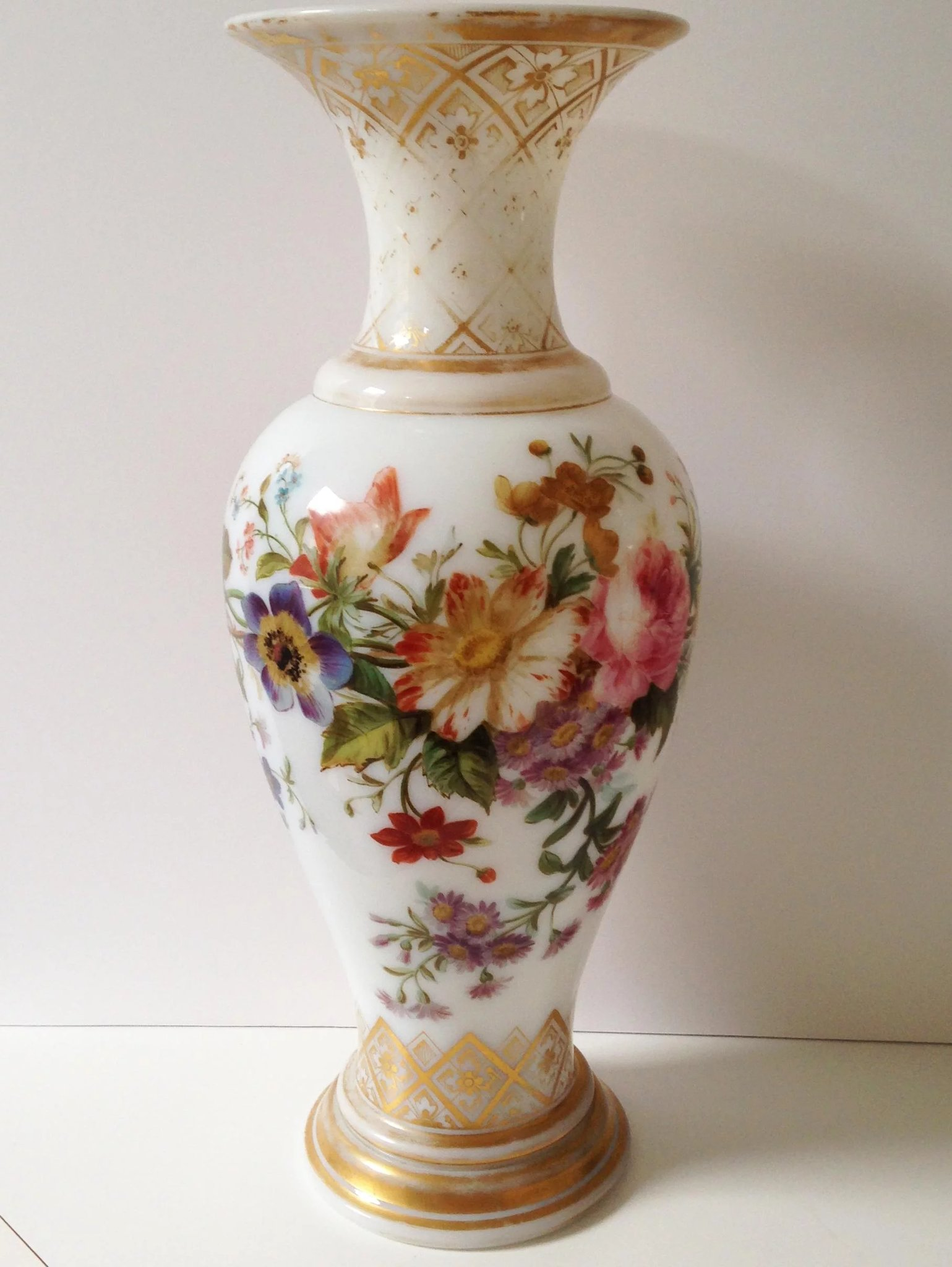 French Hand-Painted Opaline Glass Vase, c. 1860 : Robert ...