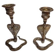 Pair of Brass Cobra Motif Candlesticks, 19th Century