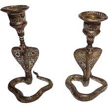 Pair of Brass Cobra Motif Candlesticks, 19th Century