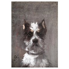 Portrait of a Dog, Oil on Panel, 19th Century