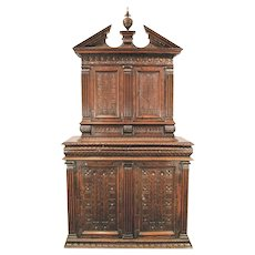 French Renaissance Carved Walnut Cabinet, 16th Century