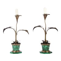 Pair of Art Nouveau Flower Pot Candlesticks, Late 19th Century