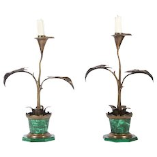 Pair of Art Nouveau Flower Pot Candlesticks, Late 19th Century