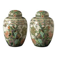 "Pair of ""Famille Vert"" porcelain vases, China circa 1860"