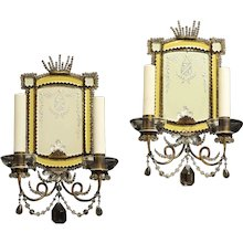 Etched silver and citrine mirrored back two light sconces, Italy late 19th Century
