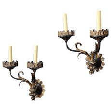 E.F. Caldwell polychrome and parcel gilt two light sconces, New York 1900