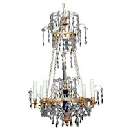 Russian chandelier with cobalt glass urn