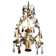 Gilded bronze and porcelain chandelier