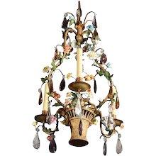 Gilded bronze and porcelain chandelier