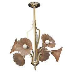 Art Deco nickeled bronze six light chandelier with tulip shaped molded glass shades, France circa 1930.