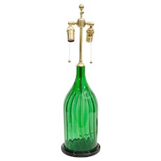 Fluted Green Glass Two Light Lamp Mounted On A Custom Black Lacquered Base, 20th Century
