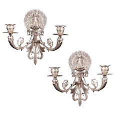 "A pair of Silvered Bronze Two-Light ""PEACOCK"" Motif Sconces made in the Napoleon III Style, France 20th Century"